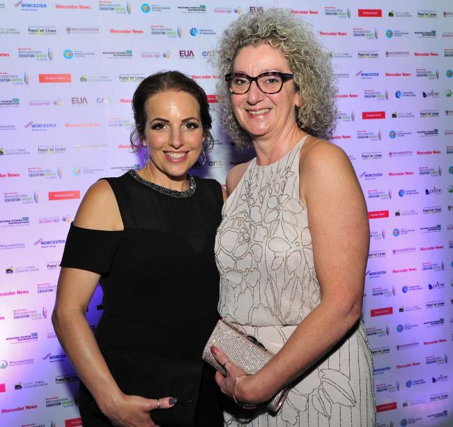 Lisa Allen and Emma Dixon from Stepping Stones Nursery at the Worcester News Worcestershire Education Awards 2019, held at the University of Worcester Arena. Pic Jonathan Barry 20.6.19.