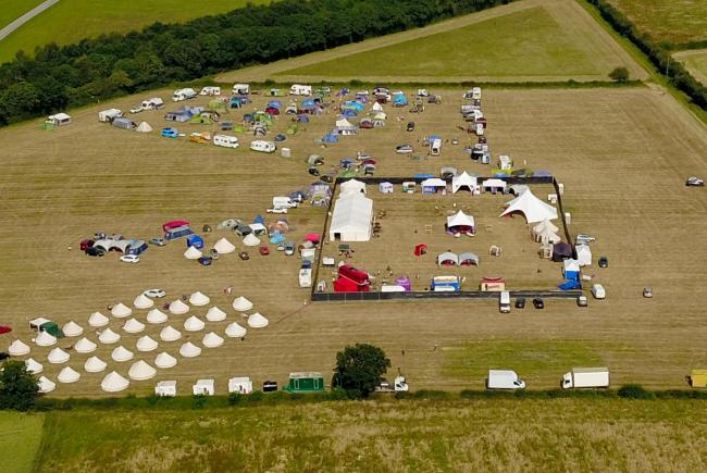 Aerial view of the 2019 Swingfields Festival taking place this weekend near the three counties showground in Malvern, Worcestershire. July 5, 2019.  A huge outdoor swingers event returns to the Worcestershire countryside this week.  Claiming to be Europe&