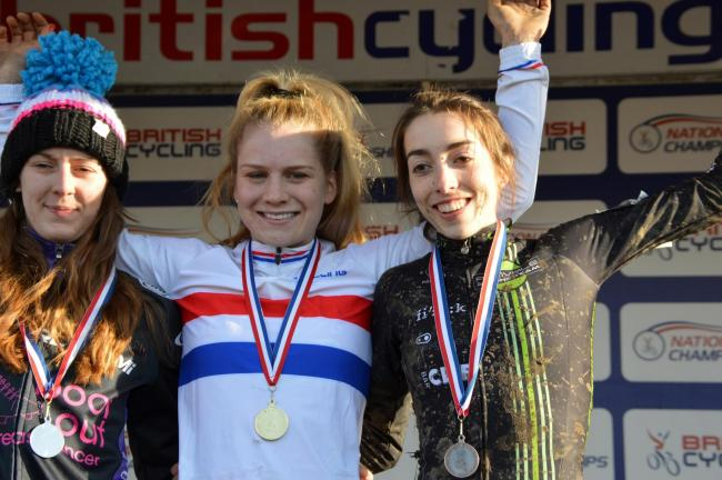 Malvern's Evie Richards (centre) won the under 23s women's title at the British Cycling National Cyclo-cross Championships.
