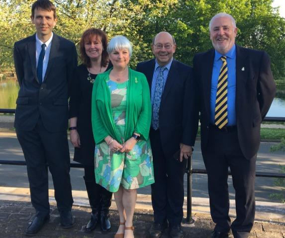 GREEN: Councillors Chris Reed, Julie Wood, Natalie McVey, John Raine and Martin Allen. Pic. West Midlands Green Party Twitter