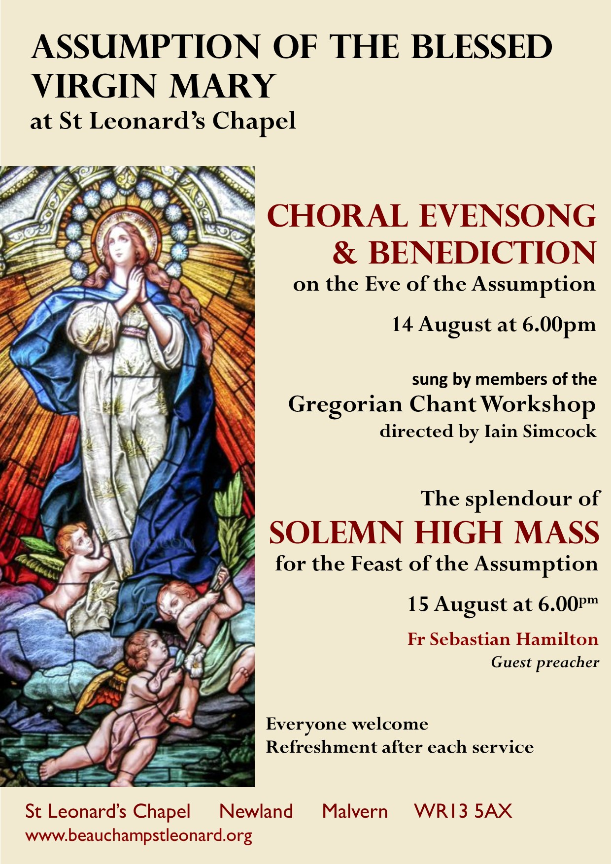 Choral Evensong & Benediction for the Eve of the Assumption of the Blessed Virgin Mary