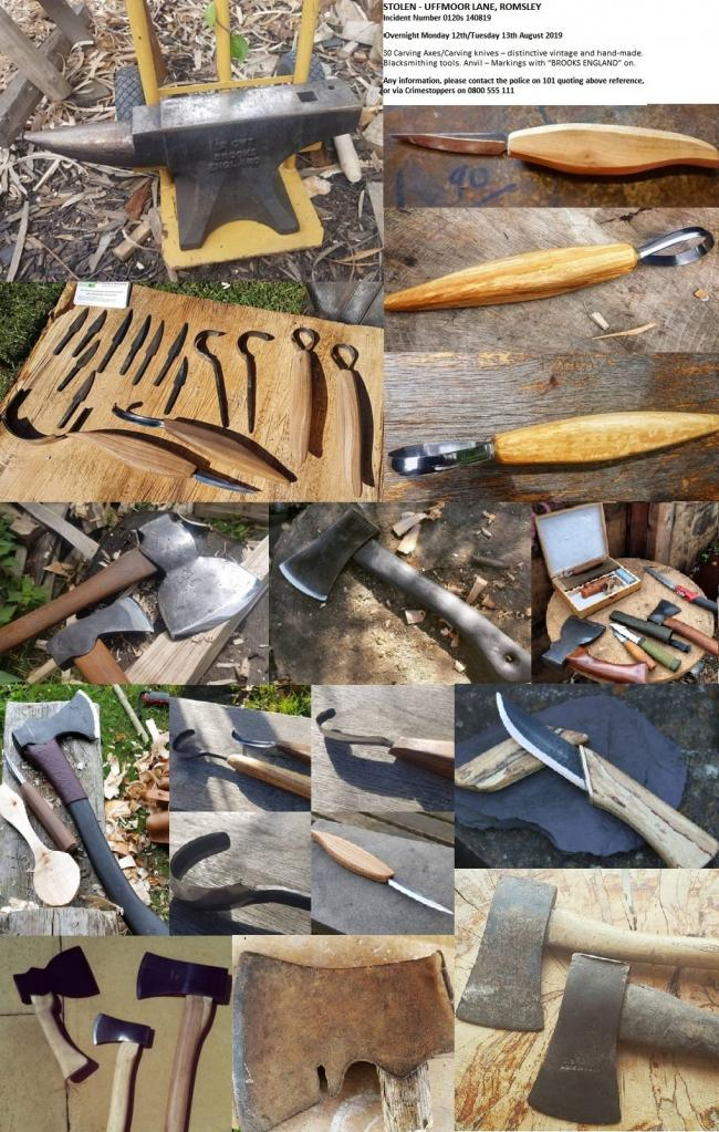 Some of the tools stolen.