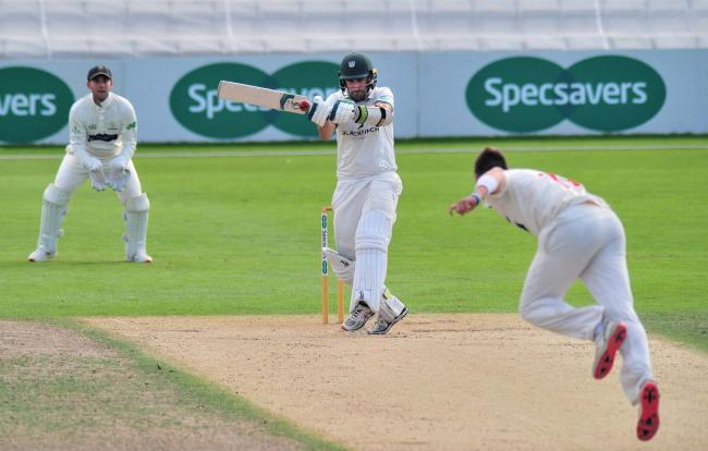 Action from day 2 of Worcestershire's Specsavers Division 2 Championship match against Glamorgan at New Road, Worcester......Daryl Mitchell smashes a Smith delivery for 4...Pic Jonathan Barry 11.9.19.