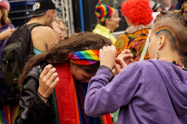 WORCESTER, WORCESTERSHIRE, UNITED KINGDOM - SEPTEMBER 22: Drag Kings and Drag Queens parade through the rural city of Worcester as they take part in the first ever Pride Parade through the city. Organised by Worcestershire Pride and Out In The Shires Quee