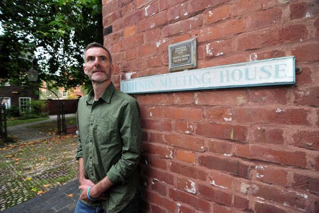 SUPPORT: Stuart Bryan outside the Friends Meeting House in Worcester. Pic. Jonathan Barry