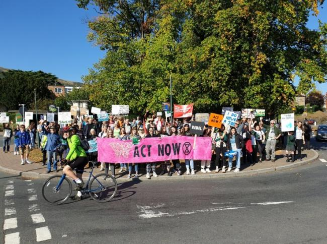 PROTEST: A large number of protesters marched in Malvern