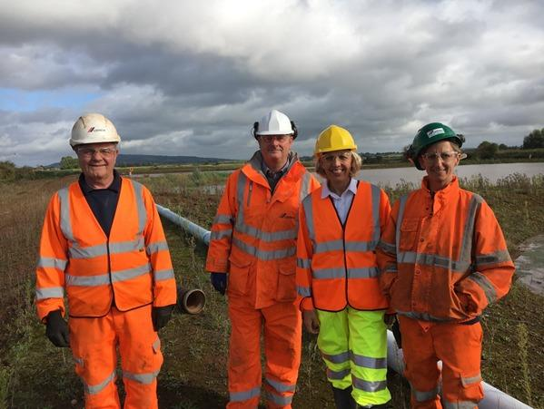 SITE: Mike Roberts, Dave Goodman, Beverley Nielsen, and Carly Harrison at the Cemex site.