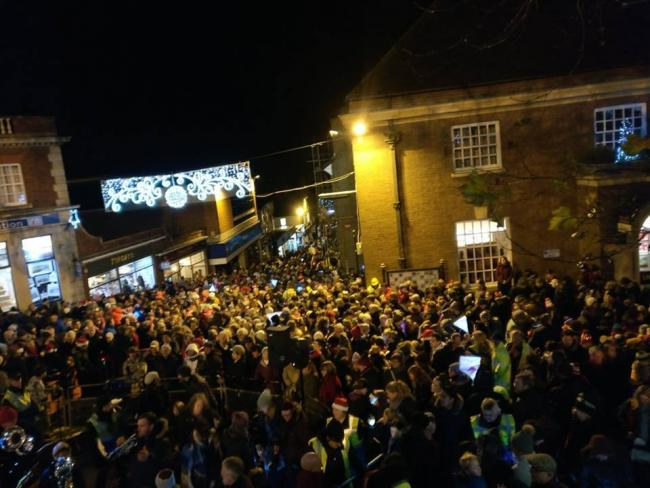 CHRISTMAS: The Christmas lights switch-on in Malvern was attended by thousands. Credit: Malvern Town Council.