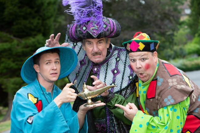 Pant-astic! Left to right, Aaron Jenson (Aladdin), John Challis (Abanazar) and Mark James (Wishee Washee).