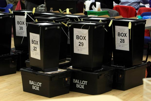 Ballot boxes at an election count (David Jones/PA)