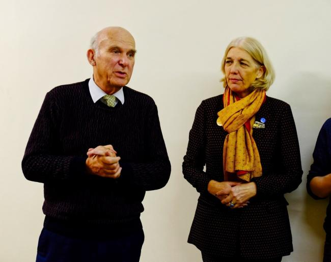 ELECTION: Sir Vince Cable with Lib Dem PPC Beverley Nielsen. Pic. Peter Wilkinson