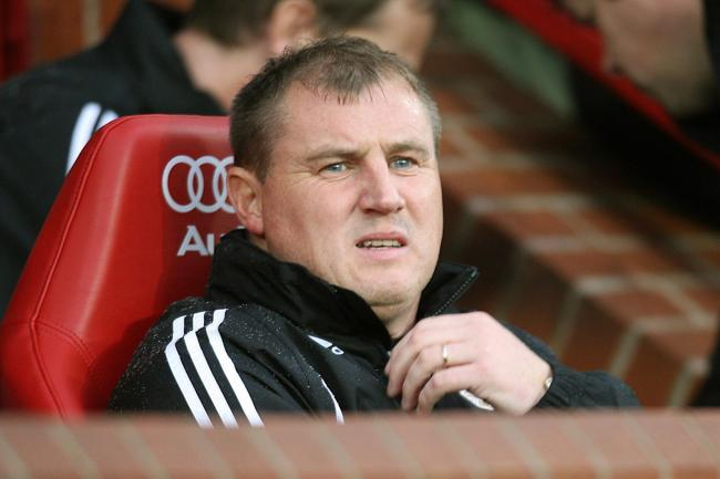 Paul Jewell in the Old Trafford dugout as Derby manager