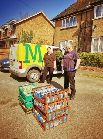 Morrisons staff out and about delivering food to a care home