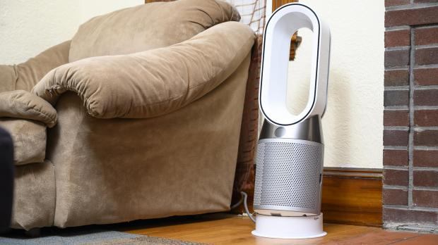 Malvern Gazette: Air purifiers, like the Dyson Pure Hot Cool, draw air in using a series of fans, send it through mechanical, chemical, and electrical filters, and then pass the clean air back out into the room. Credit: Reviewed.com / Betsey Goldwasser