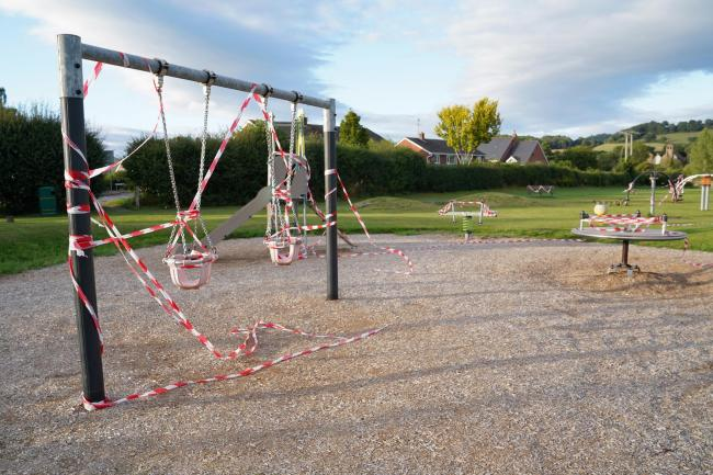 The children's park near the caraven site has been closed off. Picture: Rob Davies