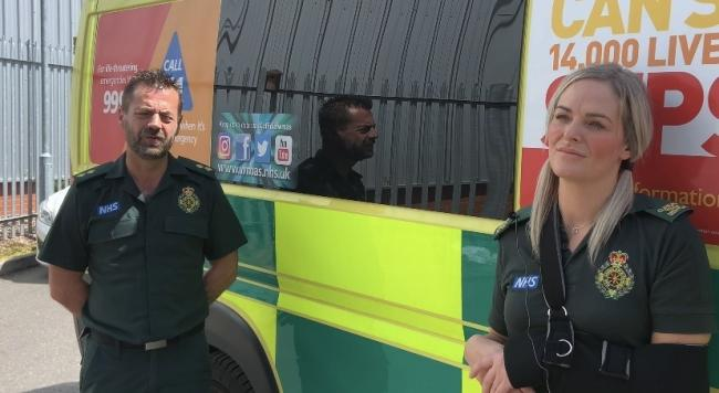 West Midlands Ambulance Service crewmates Michael Hipgrave and Deena Evans. Photo: West Midlands Ambulance Service.