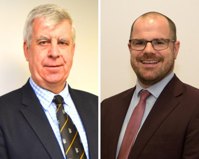 PRESIDENT: Mike Forrester (left) is making way for Ben Mannion (right) at the Chamber of Commerce