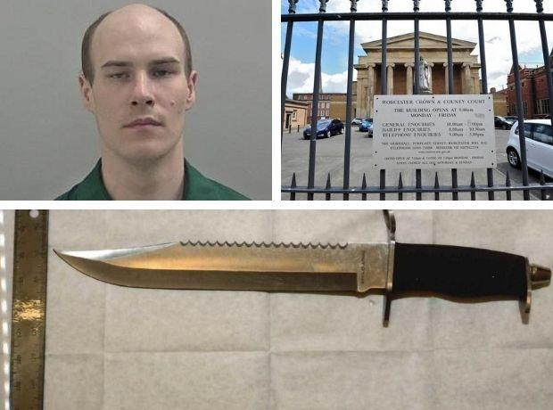 SCARY: The knife Hurding used in the attack. He was sentenced at Worcester Crown Court