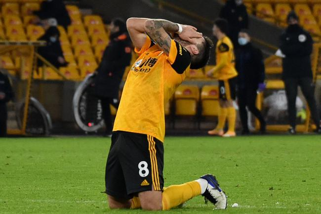 Wolves' Ruben Neves reacts to a missed chance