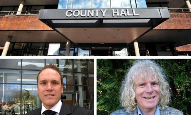 APPROVED: A two-and-a-half-percent increase in the county council's share of council tax was approved; Cllr Marcus Hart (left) and Cllr Charlie Hotham