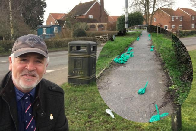 APPALLED: Cllr Martin Allen near to the scene where mounds of dog mess were abandoned by irresponsible dog owners.