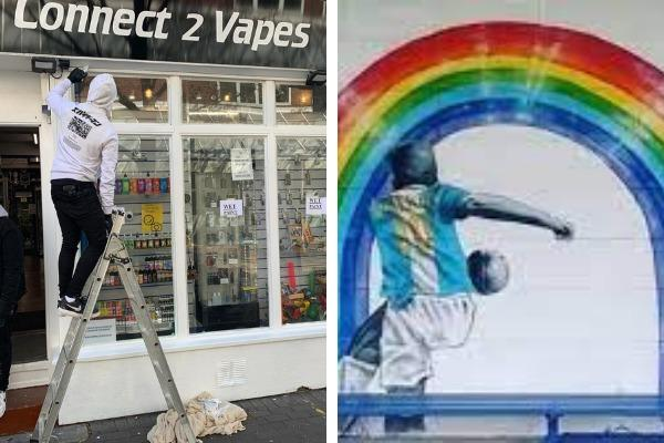GRAND REOPENING: Connect2Vapes, Worcester, and lockdown artwork at Pershore Town Football Club