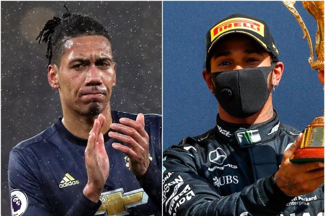 Chris Smalling and Lewis Hamilton