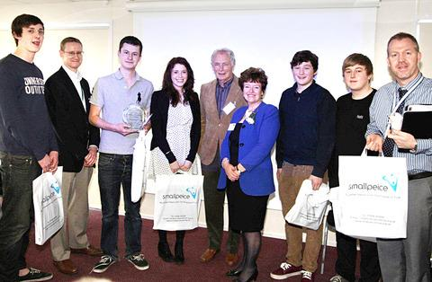 WINNERS: Students from Worcester Sixth Form College with some of the day's delegates.