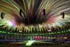 OUT WITH A BANG: Fireworks at the Olympic Stadium