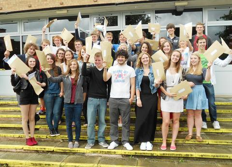 CELEBRATIONS: Some of the delighted A-Level students from the Chase School.