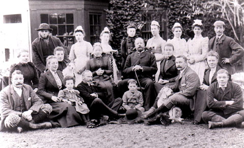 INSPIRATION FOR ELGAR: Members of the Norbury family are pictured in 1892 outside their family home, Sherridge, in Leigh Sinton. Winifred, Elgar's closest friend, is seen seated far right in the middle row.