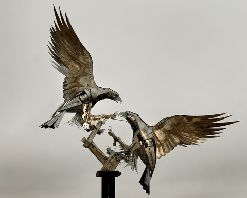 NEW SCULPTURE: Artist Walenty Pytel's sculpture of two buzzards now has pride of place in Malvern's Rosebank Gardens.