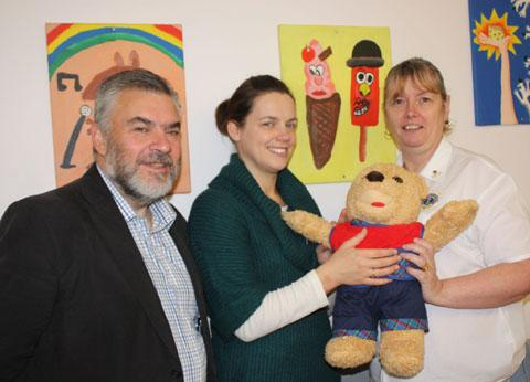 SPECIAL BEAR: Worcester Lions Club has donated Benny, an anatomical teddy bear, to the community children's nursing and palliative care team at Worcestershire Royal Hospital. Sian Jackson received the bear from Lions Joy Haffner and Dennis Chamberlain