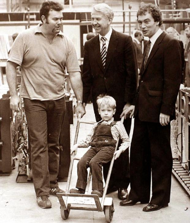 THAT'S MY BOY: The late Lord Peter Walker with his young son Robin. Worcester entrepreneur Cecil Duckworth is pictured right.