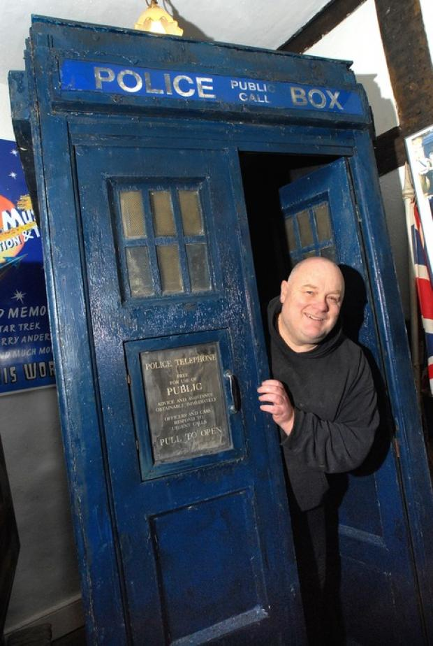 USED: Andy Glazzard with the Tardis used by Jon Pertwee. 5212212101