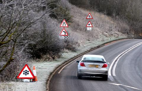 ICY ROADS: Motorists are being urged to take extra care on the county's roads as the cold snap begins to bite.
