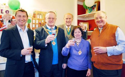 CHEERS: From left, Steve Battley, Ian Hopwood, John Jordan, Jeanette Hopwood, and Andrew Dykes