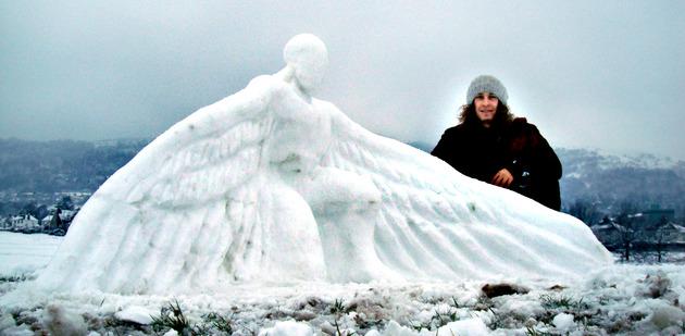 Ed Elliott's magnificent Malvern Hills snow angel. Well done, Ed. We love it!