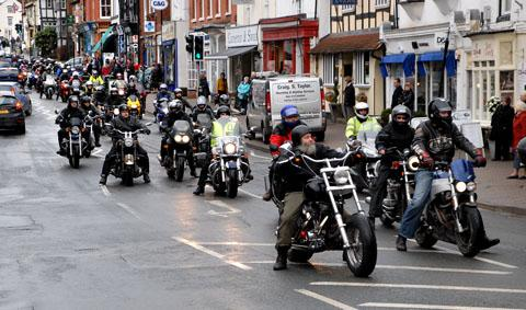 Bikers formed a guard of honour on the way to Lee Vine's funeral