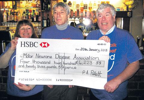 FANTASTIC EFFORT: From left, Janet Hannon, Paul Pallett and Ray Hannon with the cheque.