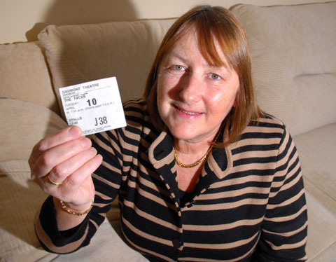 THE NIGHT I SAW ROD STEWART: Pauline Horton with her ticket from April 10, 1973, to see Rod Stewart with the Faces. 0413229101