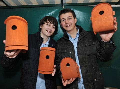 Year 12 RGS students Sam Paget and Alex Myerson with their flat pack bird box kits. 0913259401. Picture by John Anyon.