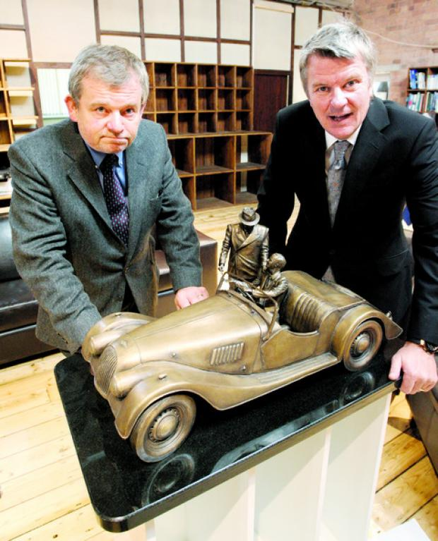BRONZE: Roger Moran, left, and Charles Morgan with a model of the proposed sculpture.