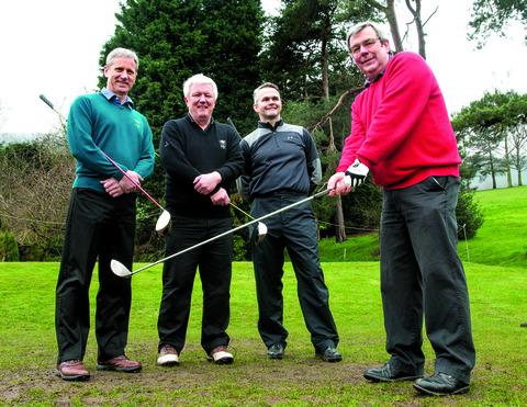 SWINGING IN: The Worcestershire Golf Club's new men's captain Mike Sterry, from Ledbury, gets ready to drive off in Malvern Wells watched by (left to right) vice-captain Roger Brierly, his predecessor Jim Wilde and professional Richard Lewis.