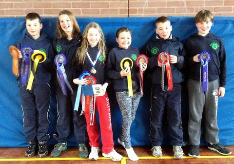 TRIATHLON TRIUMPH: Malvern Pony Club members (left to right): Adam Egginton, Eve Egginton, Hattie Gill, Holly Wylde, Eddie Egginton and Ollie Gill.