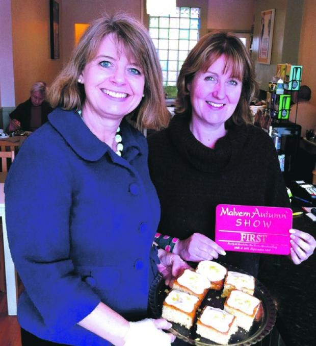 TASTE OF MALVERN: Harriett Baldwin with Alison Pearson and her prize-winning cakes from the Malvern Autumn Show.