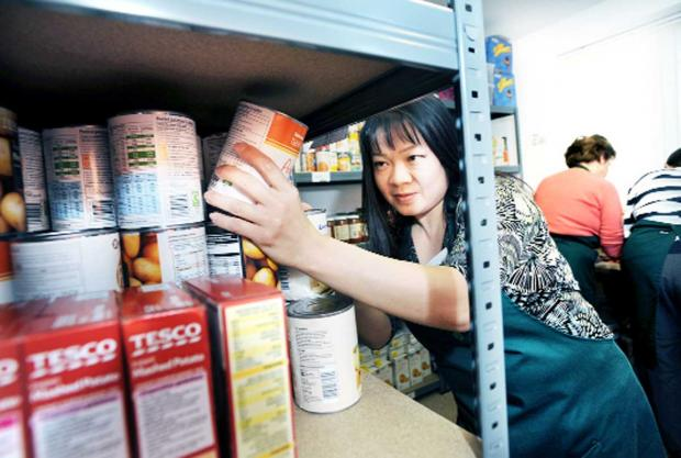 A volunteer checking stock at a foodbank