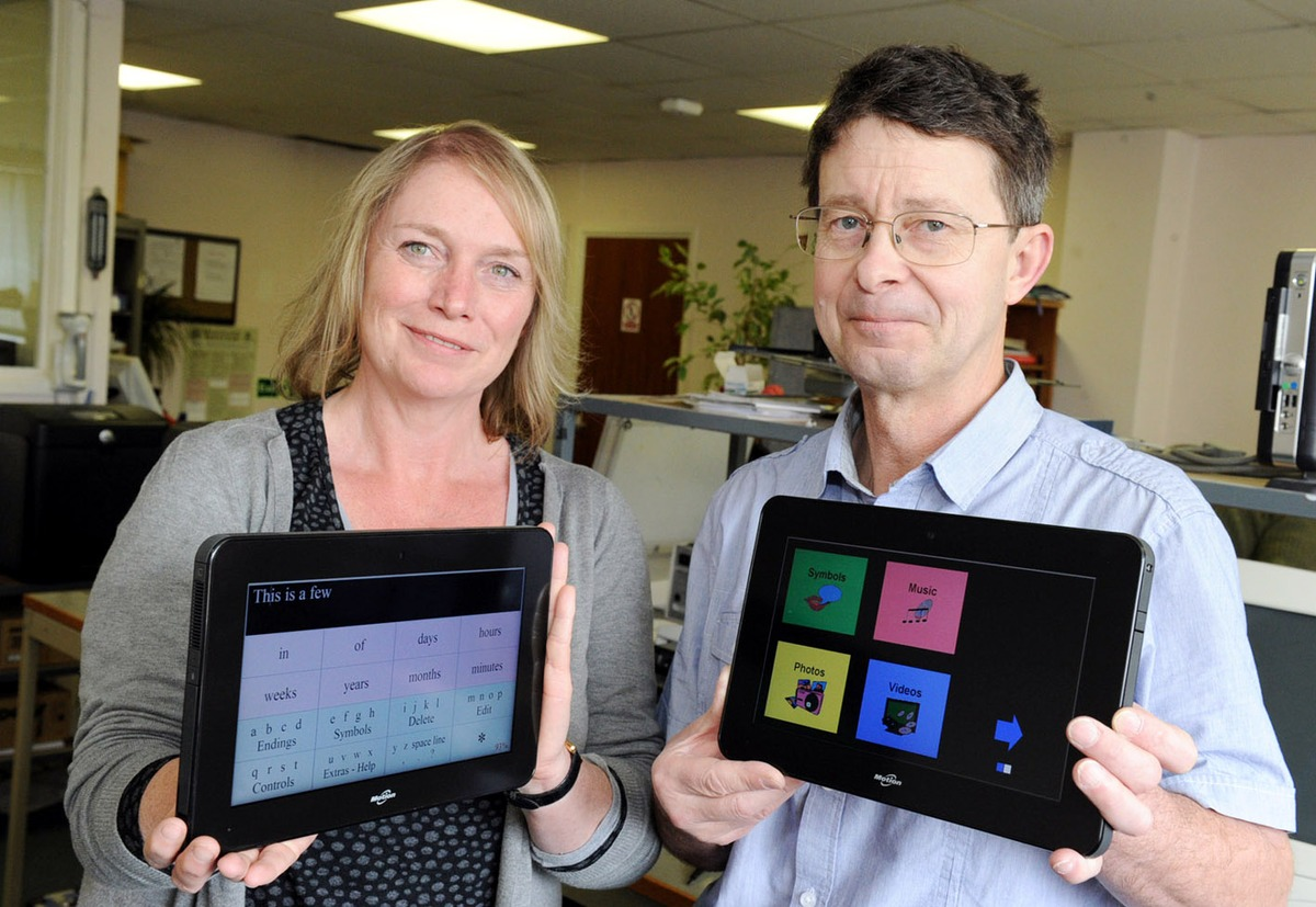 ACHIEVING INDEPENDENCE: Kate Browne and Dr Marc Beale from Assistive Control, pictured at the unveiling the new system to help disabled people.