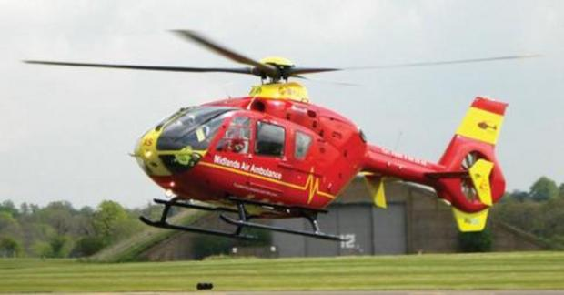 Crash near Tenbury - driver ploughed into stationary cars and is airlifted to Worcester hospital