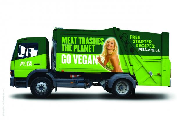 ADVERT: People for the Ethical Treatment of Animals proposed using this image of a scantily-clad woman sporting a lettuce-leaf bikini on council bin lorries – but they have now been given short shrift by council chiefs.